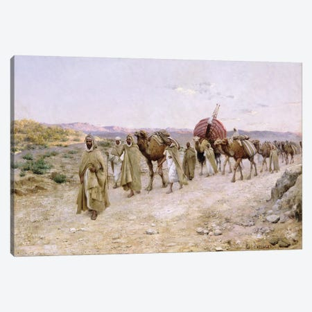 A Caravan near Biskra, 1892  Canvas Print #BMN2008} by Paul John Baptiste Lazerges Canvas Artwork