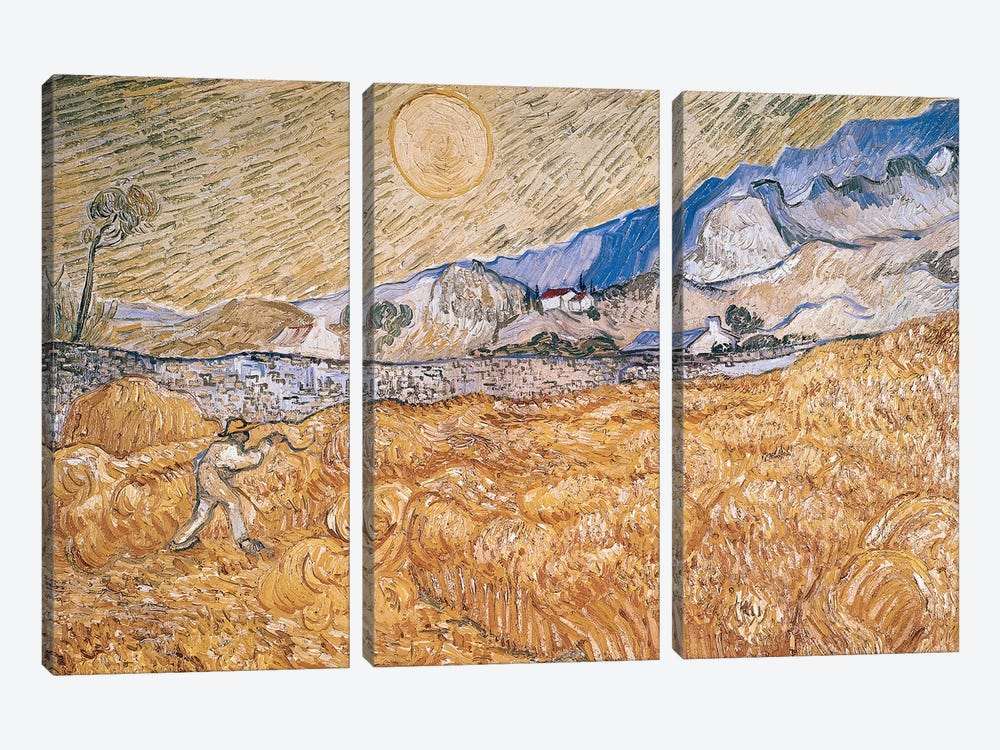 The Harvester  by Vincent van Gogh 3-piece Canvas Wall Art