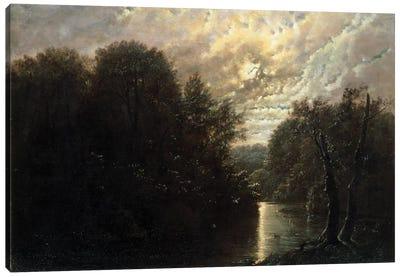 River Landscape in the Rosental near Leipzig  Canvas Art Print