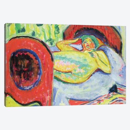 Reclining Nude  Canvas Print #BMN2030} by Ernst Ludwig Kirchner Canvas Art Print