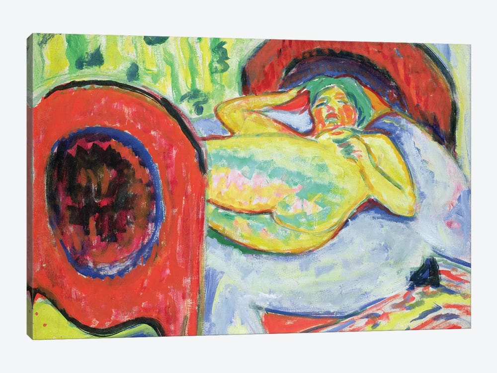 Reclining Nude  by Ernst Ludwig Kirchner 1-piece Canvas Wall Art