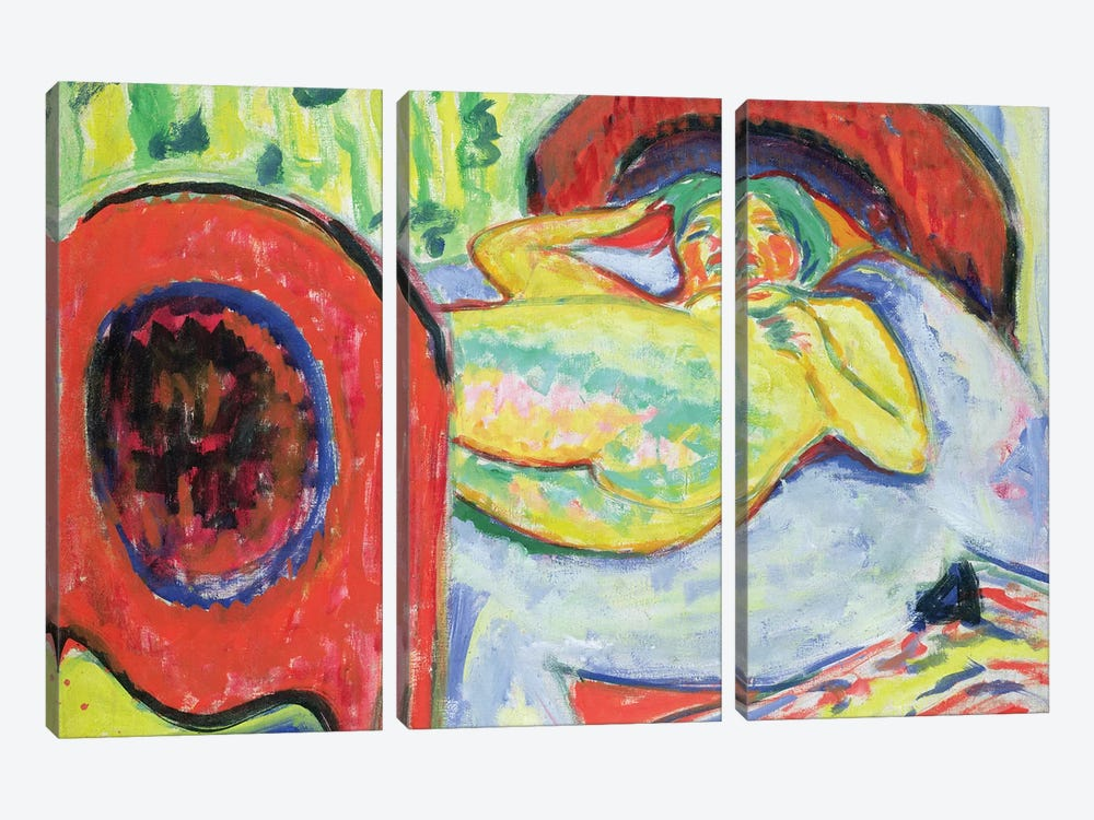 Reclining Nude  by Ernst Ludwig Kirchner 3-piece Canvas Wall Art