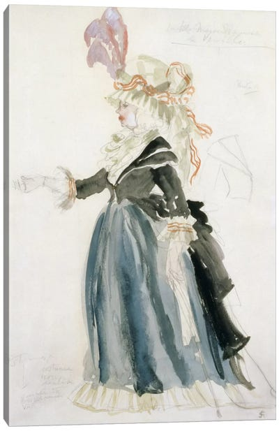 Costume design for 'Misa Sert' as 'Une Dame de la Cour' for 'La Fete Merveilleuse'at Versailles, 1923 Canvas Art Print