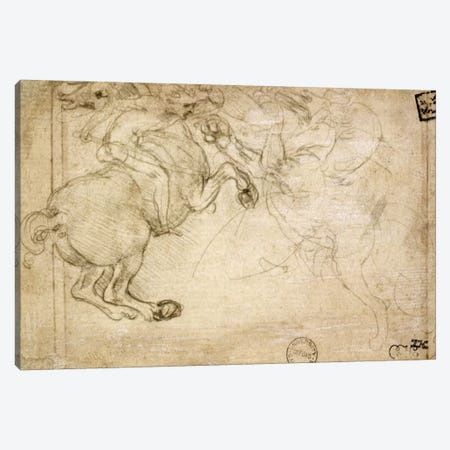 A Horseman in Combat with a Griffin, 16th century  Canvas Print #BMN2040} by Leonardo da Vinci Canvas Artwork