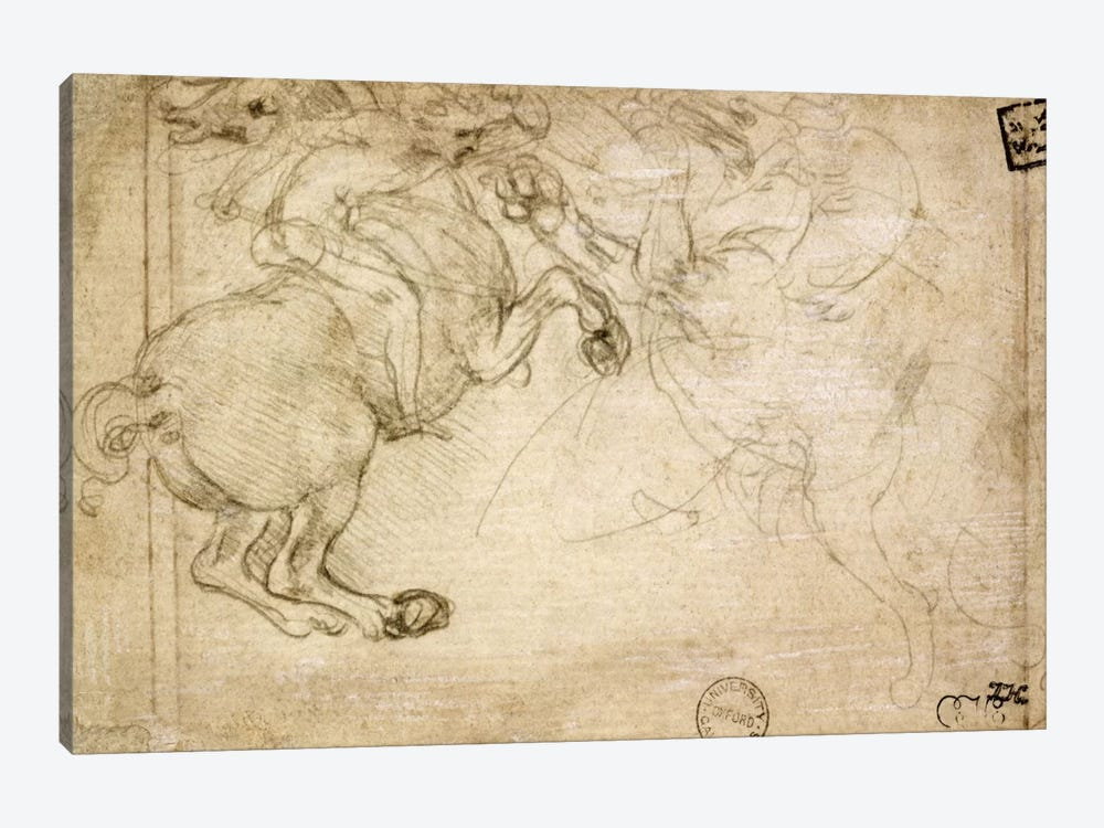 A Horseman in Combat with a Griffin, 16th century by Leonardo da Vinci 1-piece Canvas Art Print