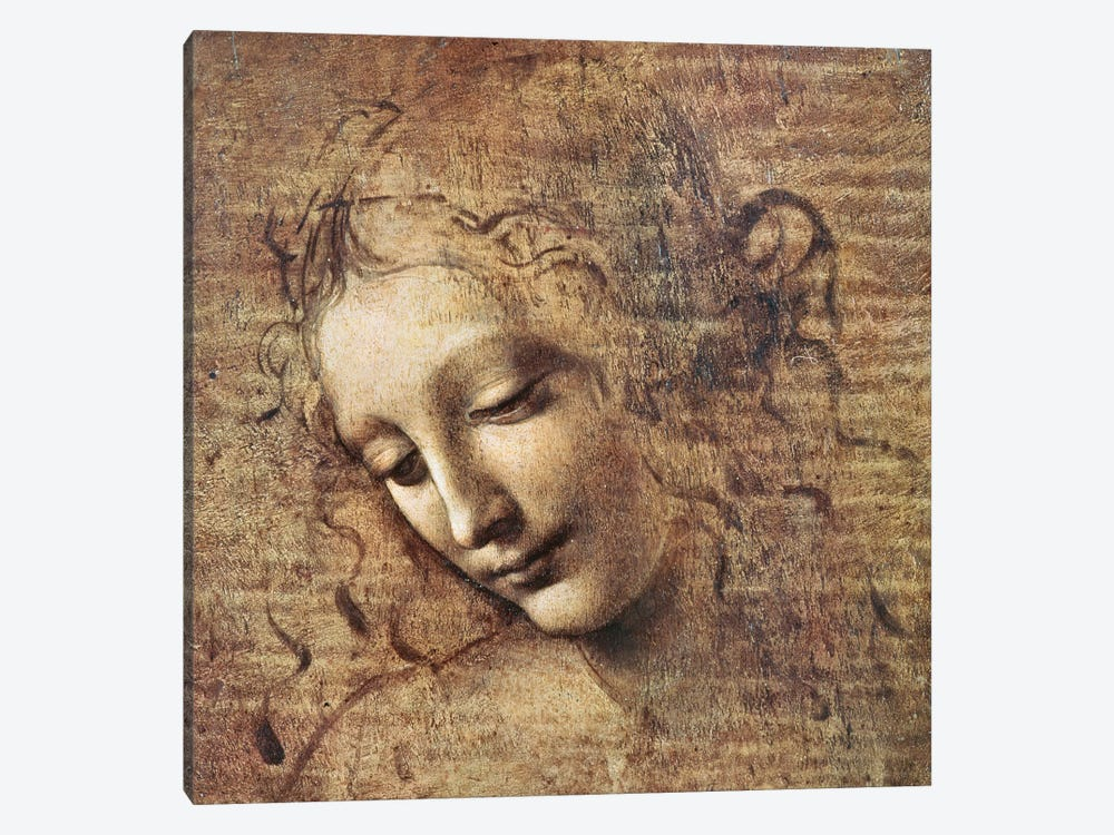 Head of a Young Woman with Tousled Hair or, Leda  by Leonardo da Vinci 1-piece Canvas Wall Art