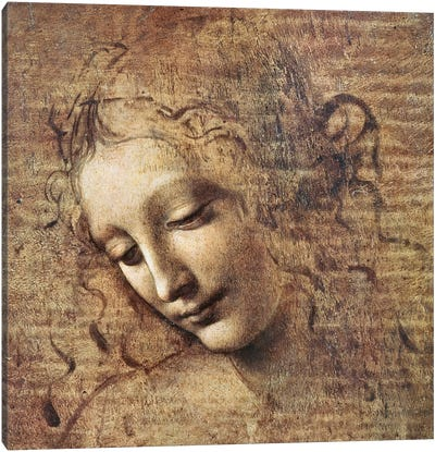 Head of a Young Woman with Tousled Hair or, Leda  Canvas Art Print