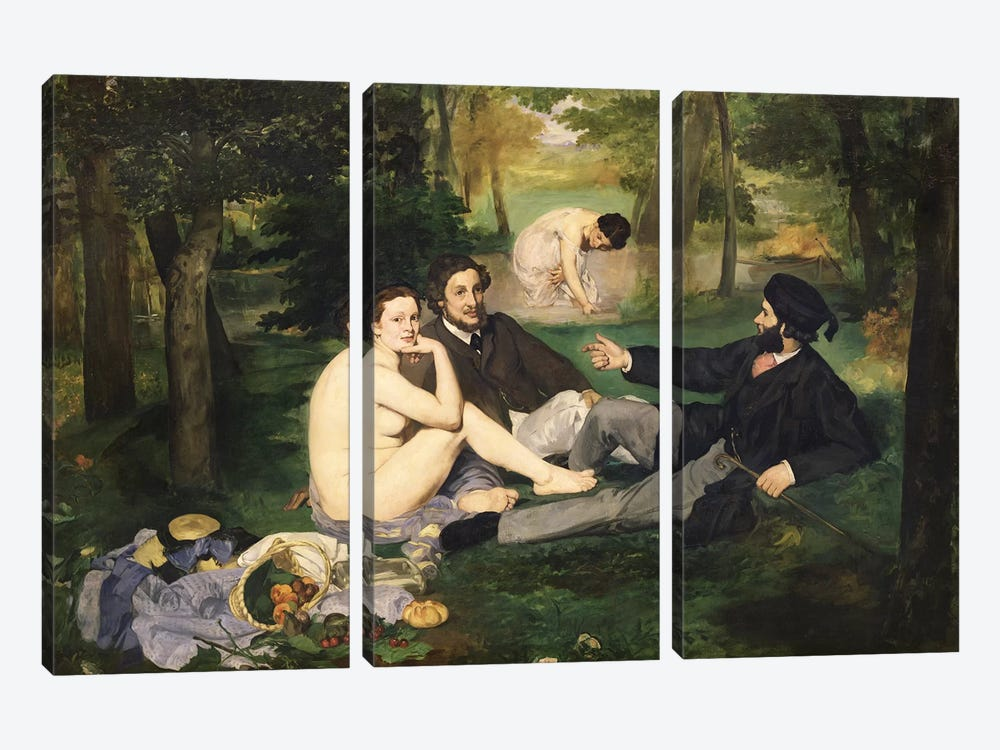 Le Déjeuner sur l'herbe (Luncheon On The Grass), 1863   by Edouard Manet 3-piece Canvas Art