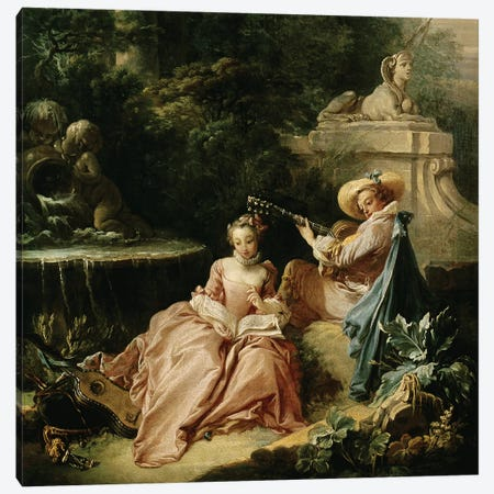 The Music Lesson, 1749  Canvas Print #BMN2051} by Francois Boucher Canvas Art Print