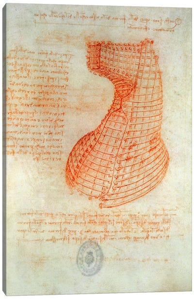 Drawing of the Ironwork Casting Mould for the Head of the Sforza Horse, Fol. 57  Canvas Print #BMN2056