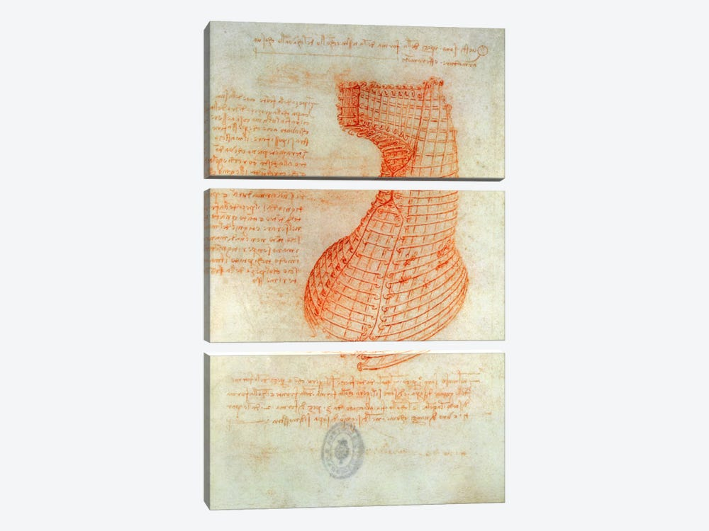 Drawing of the Ironwork Casting Mould for the Head of the Sforza Horse, Fol. 57  by Leonardo da Vinci 3-piece Canvas Wall Art