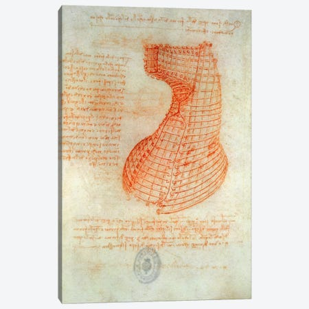 Drawing of the Ironwork Casting Mould for the Head of the Sforza Horse, Fol. 57  Canvas Print #BMN2056} by Leonardo da Vinci Canvas Wall Art