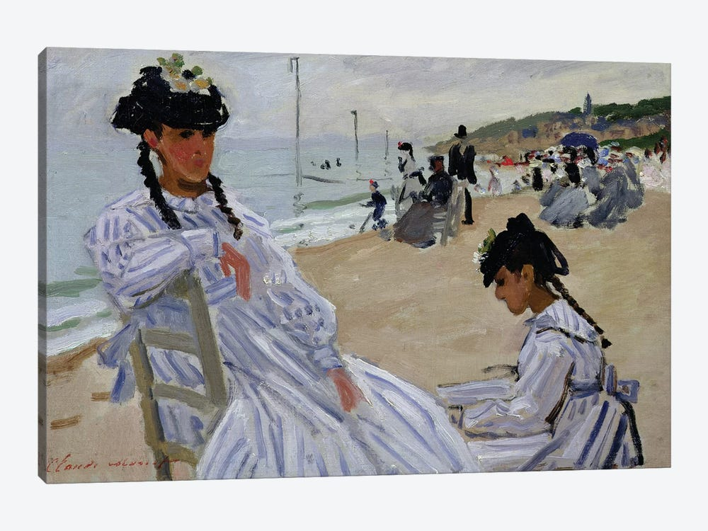 On the Beach at Trouville, 1870-71  by Claude Monet 1-piece Canvas Print