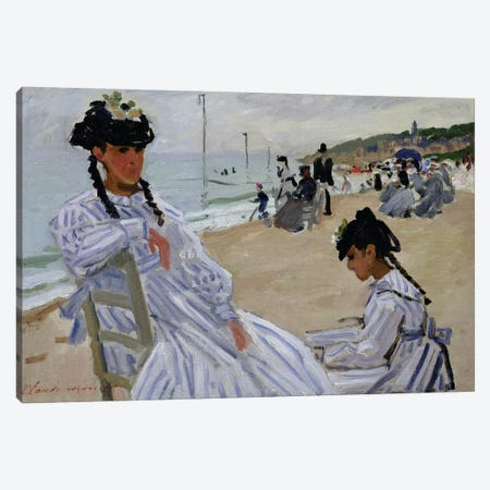 On the Beach at Trouville, 1870-71  3-Piece Canvas #BMN2059} by Claude Monet Art Print
