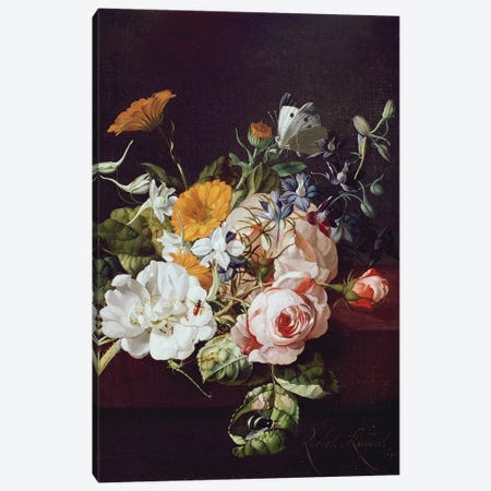 Vase of Flowers, 1695 Canvas Print #BMN206} by Rachel Ruysch Canvas Art Print