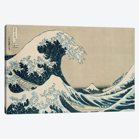 The Great Wave of Kanagawa, from the series '36 Views of Mt. Fuji'  Canvas Print #BMN2075} by Katsushika Hokusai Canvas Wall Art