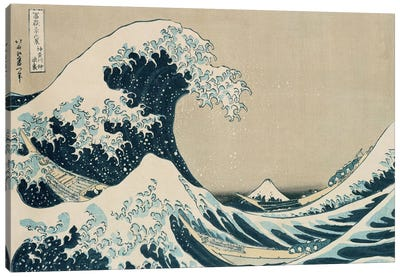 The Great Wave of Kanagawa, from the series '36 Views of Mt. Fuji'  Canvas Art Print