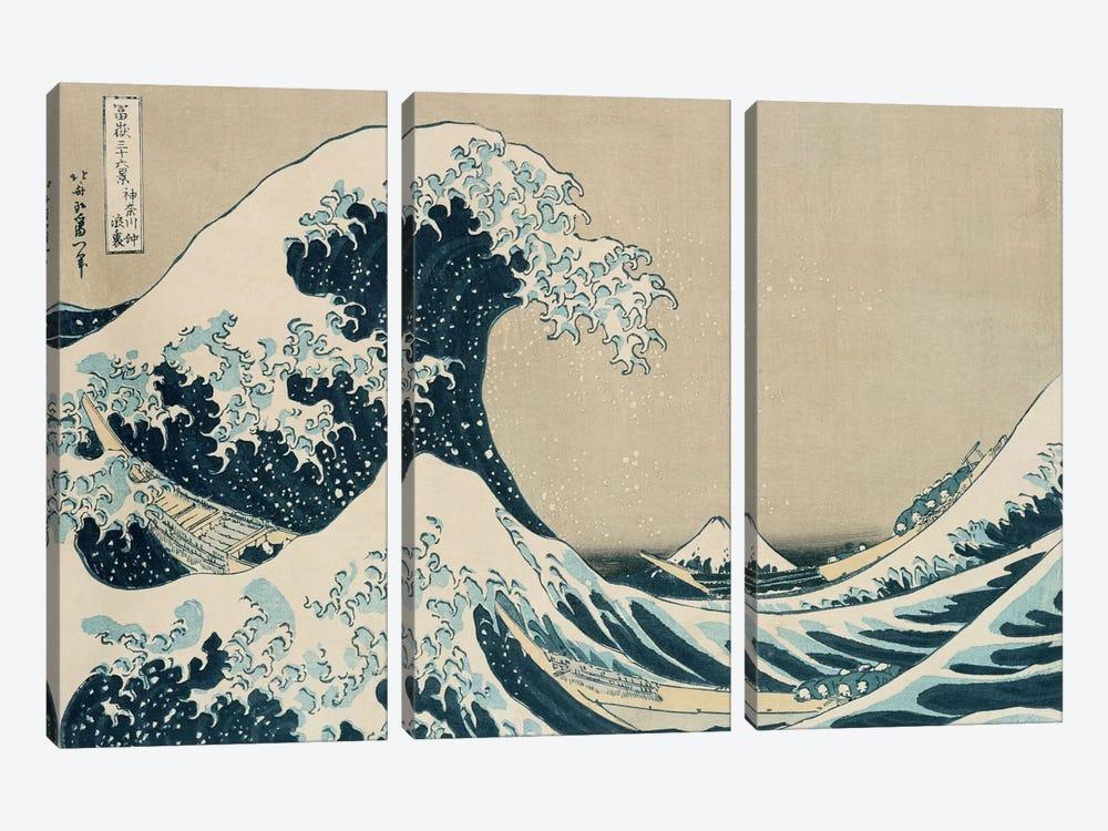 The Great Wave of Kanagawa, from the series '36 Views of Mt. Fuji'  by Katsushika Hokusai 3-piece Canvas Art Print