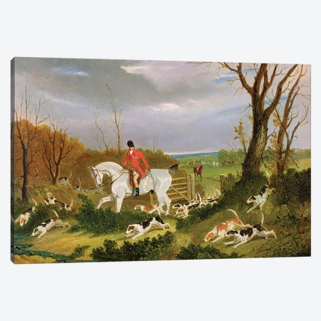 The Suffolk Hunt - Going to Cover near Herringswell  Canvas Print #BMN2078} by John Frederick Herring Sr Canvas Art Print