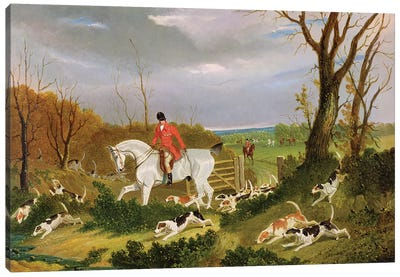The Suffolk Hunt - Going to Cover near Herringswell  Canvas Art Print