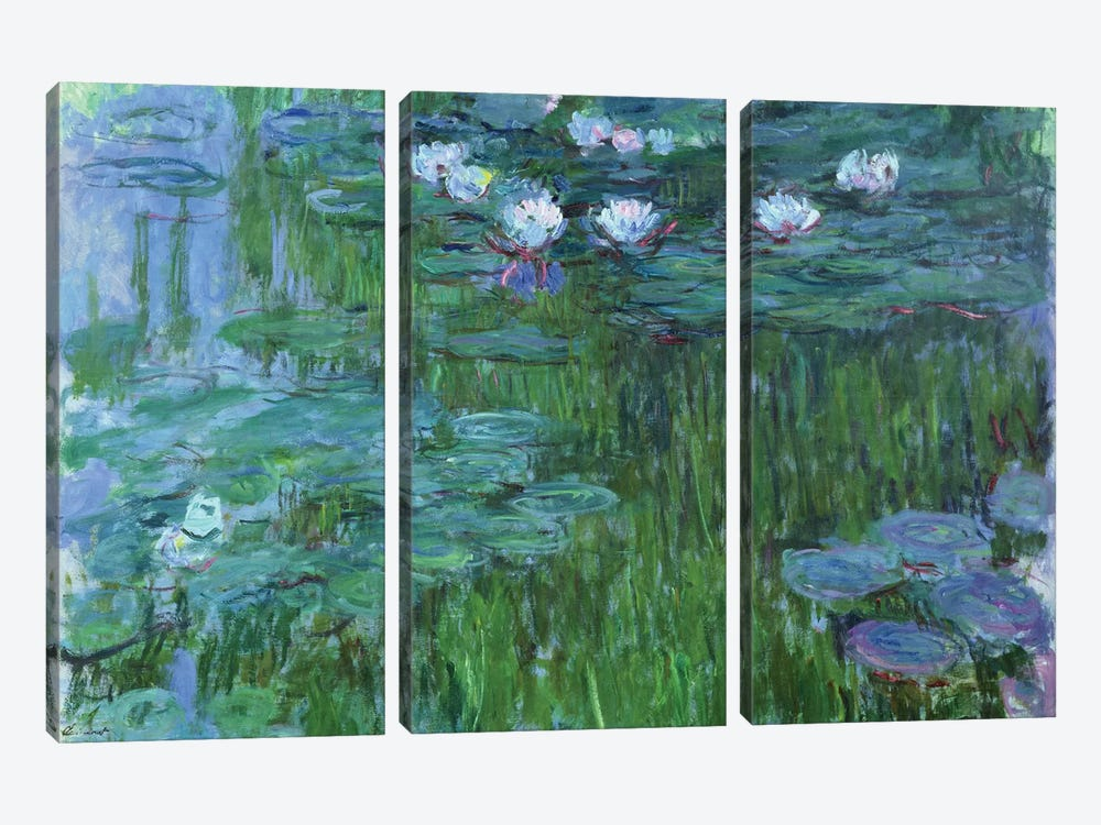 Waterlilies, 1914-17  by Claude Monet 3-piece Canvas Print