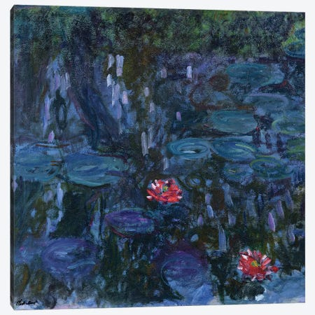 Waterlilies with Reflections of a Willow Tree, 1916-19  Canvas Print #BMN2081} by Claude Monet Canvas Wall Art