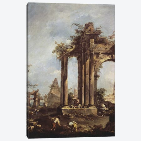 Capriccio with Roman Ruins, a Pyramid and Figures, 1760-70  Canvas Print #BMN208} by Francesco Guardi Canvas Artwork