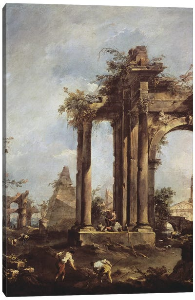 Capriccio with Roman Ruins, a Pyramid and Figures, 1760-70  Canvas Art Print