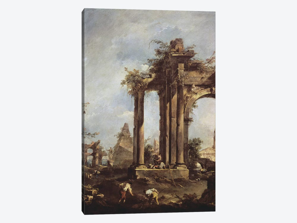 Capriccio with Roman Ruins, a Pyramid and Figures, 1760-70  1-piece Canvas Wall Art
