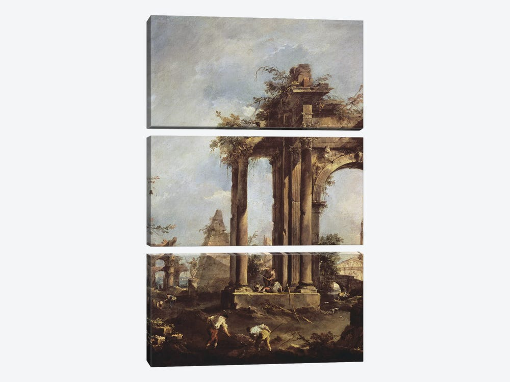 Capriccio with Roman Ruins, a Pyramid and Figures, 1760-70  3-piece Canvas Art