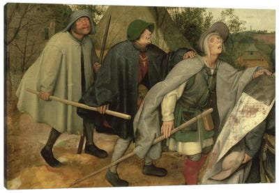 Parable of the Blind, detail of three blind men, 1568   Canvas Art Print