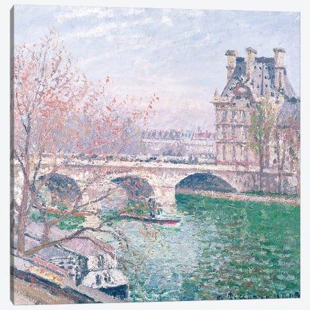 The Pont-Royal and the Pavillon de Flore, 1903  3-Piece Canvas #BMN2093} by Camille Pissarro Art Print