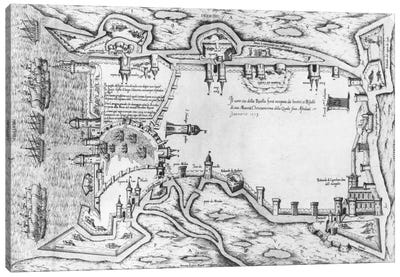 Map illustrating La Rochelle occupied by the Huguenots  Canvas Print #BMN2096