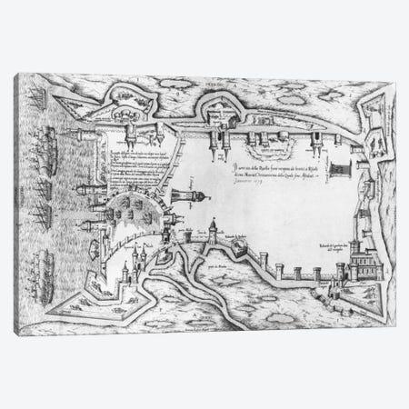 Map illustrating La Rochelle occupied by the Huguenots  Canvas Print #BMN2096} by Antonio Lafreri Canvas Art