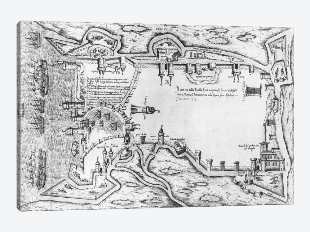 Map illustrating La Rochelle occupied by the Huguenots  by Antonio Lafreri 1-piece Canvas Artwork