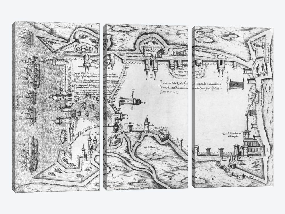 Map illustrating La Rochelle occupied by the Huguenots  by Antonio Lafreri 3-piece Canvas Wall Art