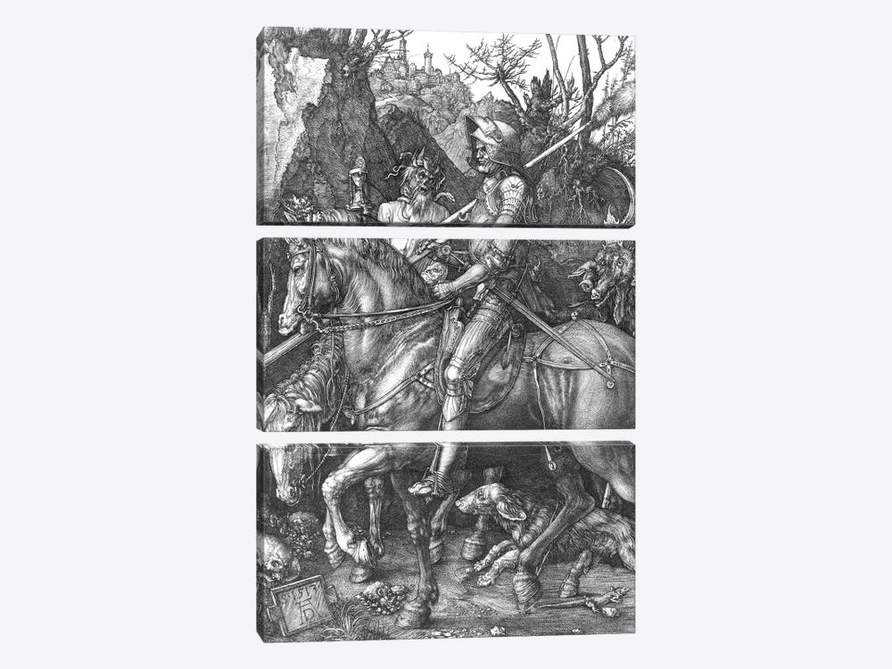 Knight, Death and the Devil, 1513  by Albrecht Dürer 3-piece Canvas Print