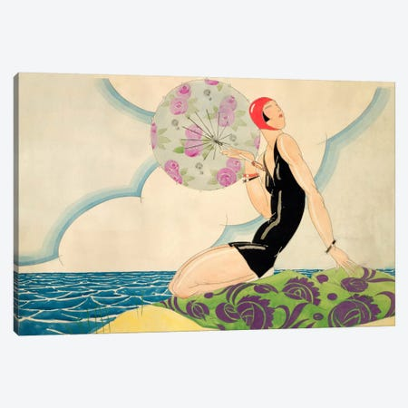 Bather, c.1925 (w/c on paper) Canvas Print #BMN20} by Rene Vincent Canvas Wall Art