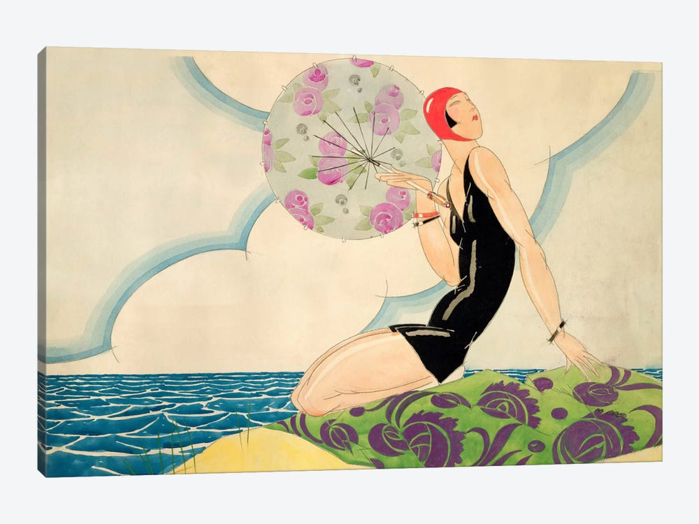 Bather, c.1925 (w/c on paper) by Rene Vincent 1-piece Canvas Wall Art
