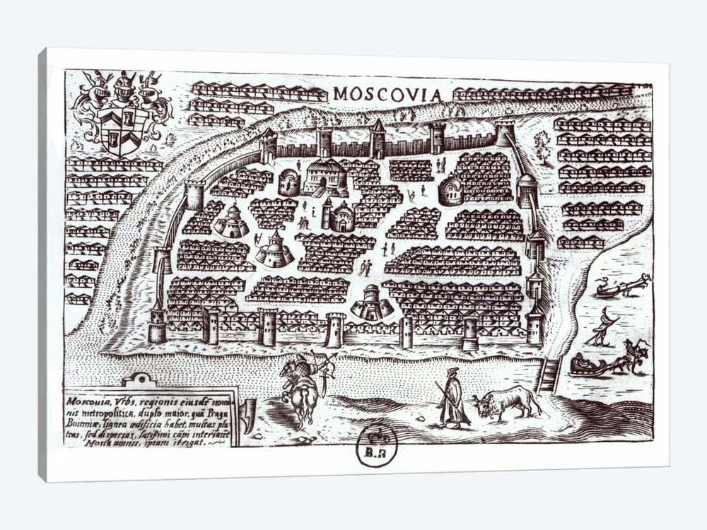 Plan of Moscow, 1628  by French School 1-piece Canvas Wall Art