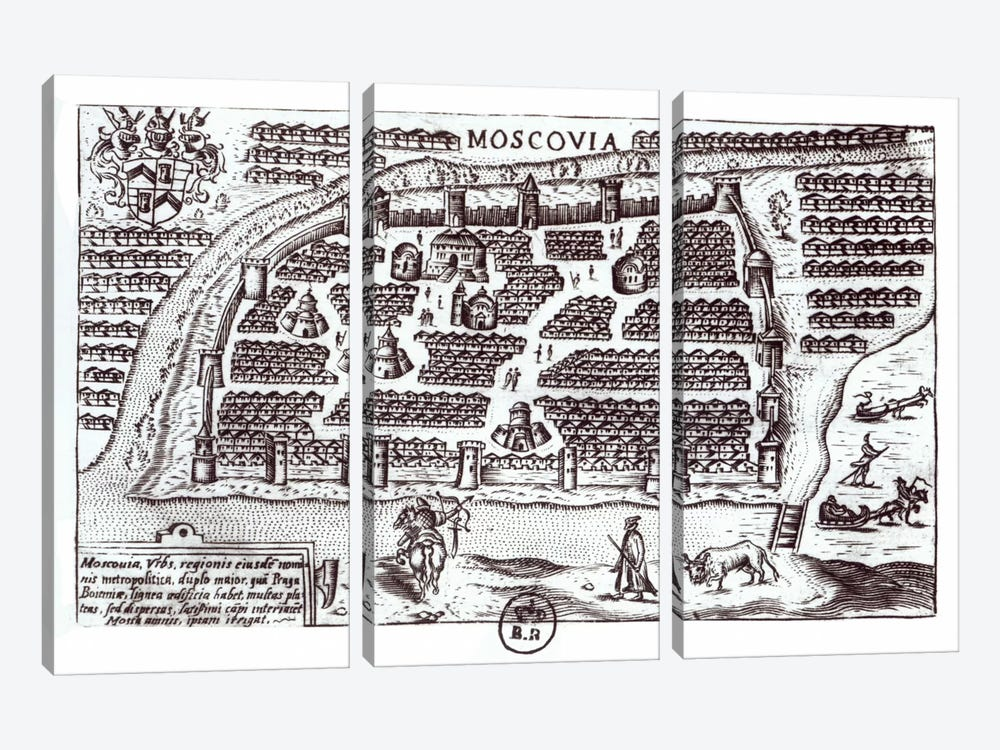 Plan of Moscow, 1628  by French School 3-piece Canvas Wall Art