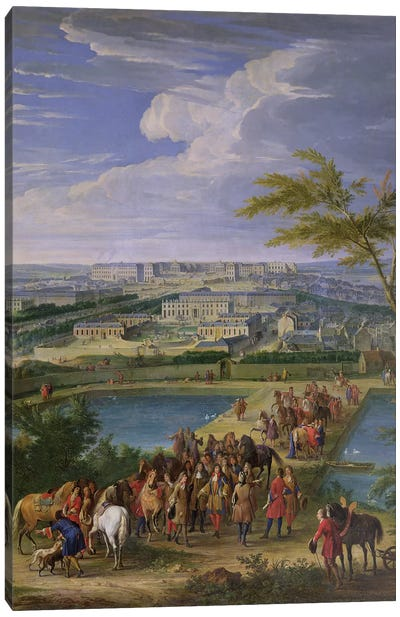 The Town and Chateau of Versailles from the Butte de Montboron, where Louis XIV  Canvas Art Print