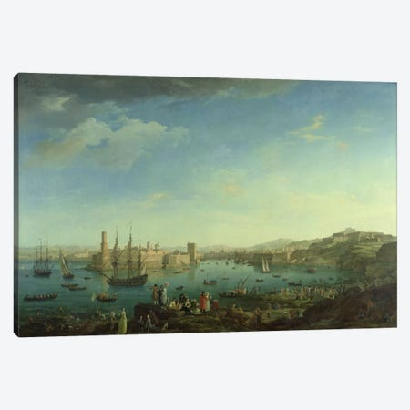 The Entrance to the Port of Marseilles, 1754  Canvas Print #BMN2106} by Claude Joseph Vernet Canvas Wall Art