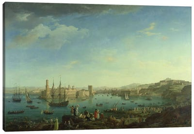 The Entrance to the Port of Marseilles, 1754  Canvas Art Print