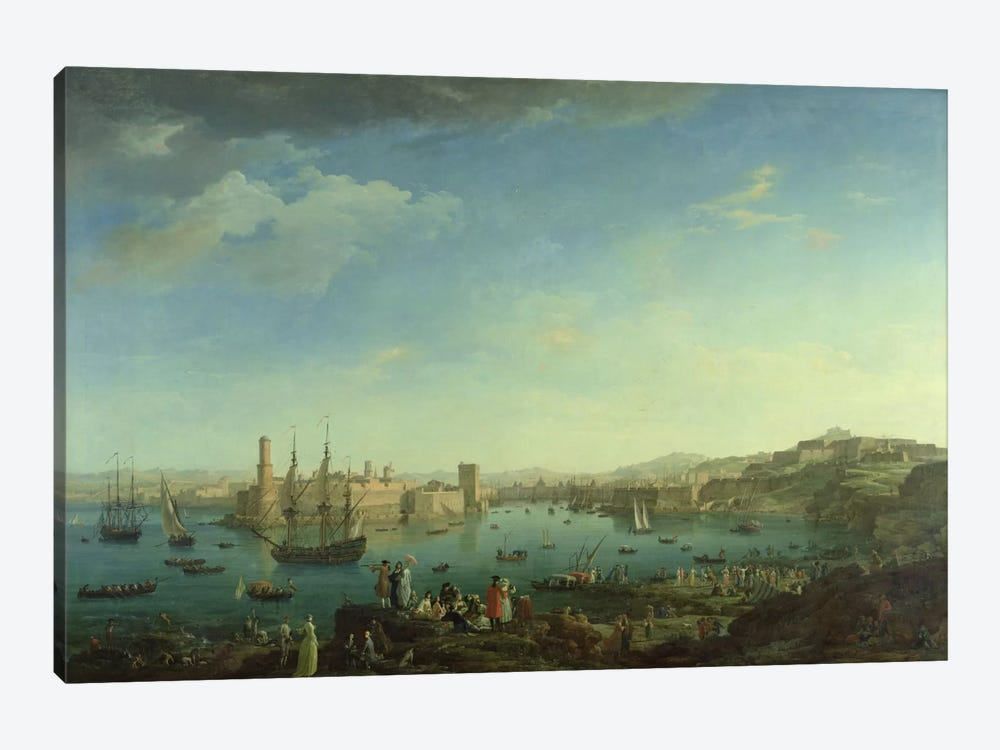 The Entrance to the Port of Marseilles, 1754 1-piece Canvas Art