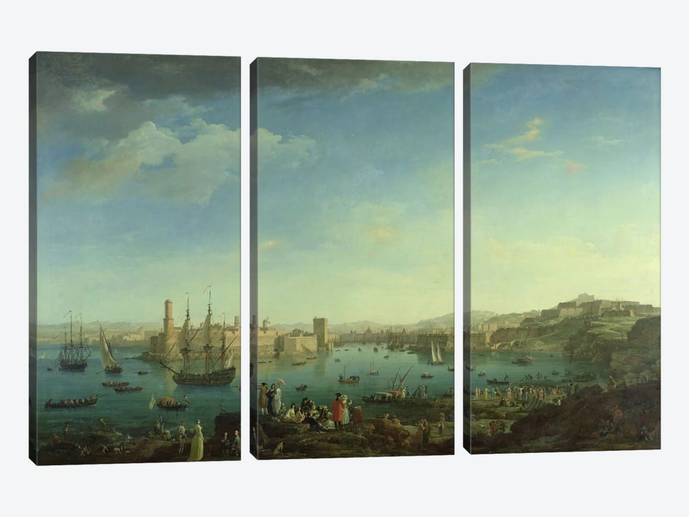 The Entrance to the Port of Marseilles, 1754 by Claude Joseph Vernet 3-piece Canvas Wall Art