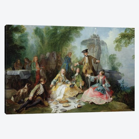The Hunting Party Meal, c. 1737  Canvas Print #BMN2107} by Nicolas Lancret Canvas Wall Art