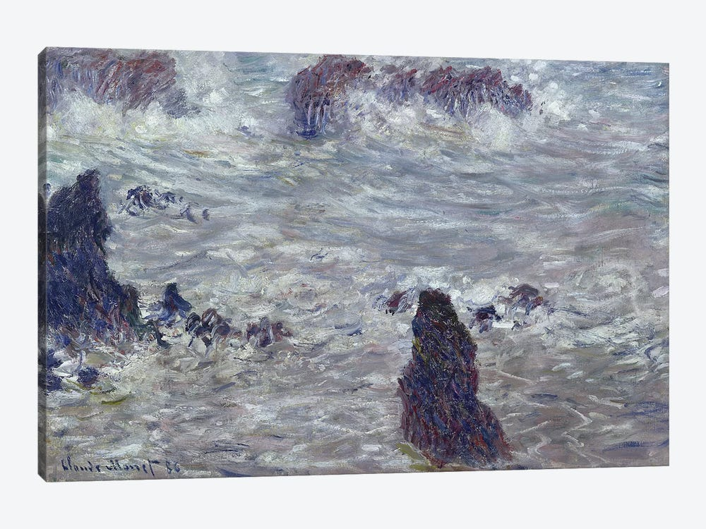 Storm, off the Coast of Belle-Ile, 1886  by Claude Monet 1-piece Canvas Print