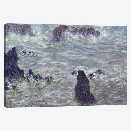 Storm, off the Coast of Belle-Ile, 1886  Canvas Print #BMN210} by Claude Monet Canvas Art Print