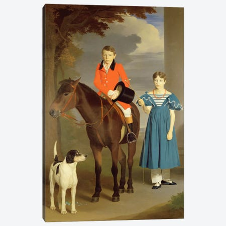 John Gubbins Newton and his Sister Mary, 1832-33  Canvas Print #BMN2115} by Robert Burnard Canvas Print